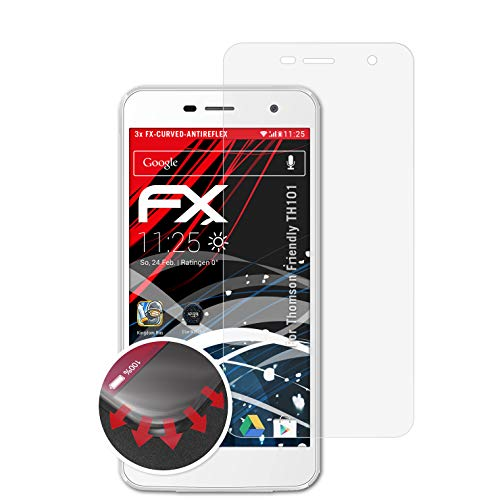 atFolix Schutzfolie passend für Thomson Friendly TH101 Folie, entspiegelnde & Flexible FX Bildschirmschutzfolie (3X)