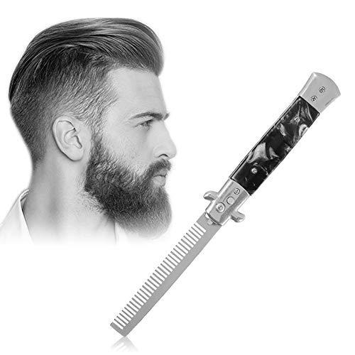 Peigne de poche pliant à bouton-poussoir à ressort Switchblade, peignes de coupe-cheveux automatiques en acier inoxydable pliables, accessoires de coiffure à l'huile pour hommes(PEARL BLACK)