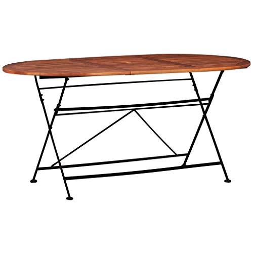 Festnight- Klappbar Gartentisch aus Akazie Holz 160 x 85 x 74 cm Oval I Klapptisch Balkontisch Esstisch Holztisch für Balkon Garten Terrasse Hof