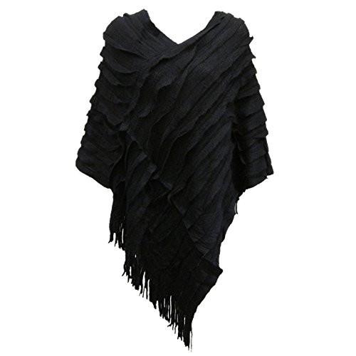 LADIES-NEW-RUFFLE-FRINGE-KNIT-PONCHO-CAPE-WOMENS-LADIES-LONG-TASSEL-JUMPERS-SHRUG-TOPS-SIZE-8-18