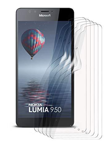 moex 5X Microsoft Lumia 950 | Schutzfolie Klar Bildschirm Schutz [Crystal-Clear] Screen Protector Display Handy-Folie Dünn Bildschirmschutz-Folie für Nokia Lumia 950 Bildschirmfolie