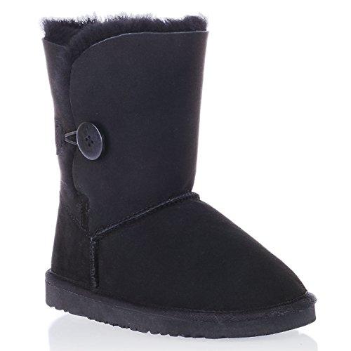 Augroo 5803 Bailey Button Boots Women Ladies Girls Winter Warm Sheepskin Boots Shearling Boots Snow Boot Augroo 5803 Bailey Button Damen Schlupfstiefel Stiefel Boots Frauen Mädchen Winter Warm Schaftstiefel Australia Schaffell Lammfellstiefel Schneestiefel (Schwarz, EU40)