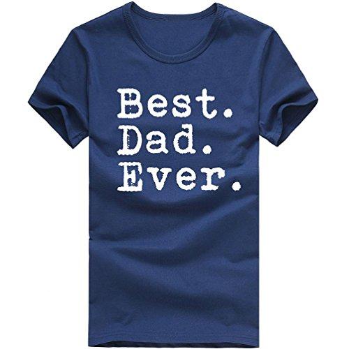 ❤️Tops Blouse Homme T-shirt,Amlaiworld Lettre d'Impression T-shirt T-shirt en Coton Manches Courtes Vêtements (L, Marine)
