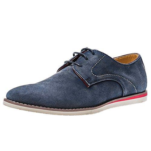 Yolkomo Herren Wildleder Oxford Sneaker Classic Casual Logging Schuhe Für Engere Kleidung Marine 42 (Casual Kleid Schuh-komfort Arbeiten)