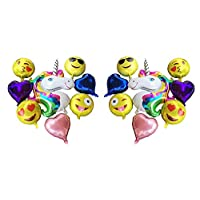 Balloons 16 Packs Include 8 Emoji 16Inch and 6 Heart-shaped 15inch and 2 Unicorn 35inch height Huge Foil Balloons for Birthday, Anniversary, Bachelorette, Wedding, Baby Shower Party Decoration