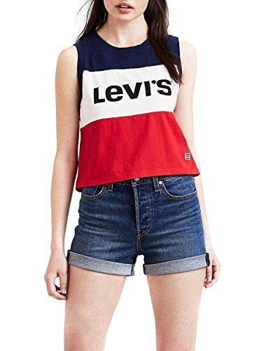 T- shirt levis colorblock crop m bianco