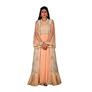 Zarf Lifestyle Women Silk Lehenga Choli (Free Size_Orange)