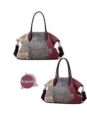 Frauen Damen Leinentaschen Segeltuch Taschen Lässige Vintage Hobo Leinwand Multi-Pocket täglich Geldbörse Messenger...