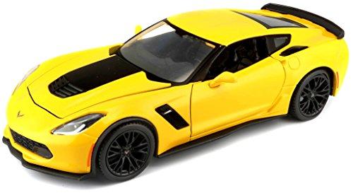Maisto Corvette Z06 '15: Originalgetreues Modellauto mit Türen und Kofferraum/Motorhaube zum Öffnen, Maßstab 1:24, Fertigmodell, 20 cm, gelb (531133) -
