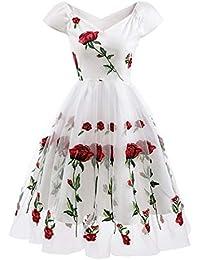 af2497078dc54 HaoHuodress Donna Spalla Vintage Ricamo Rosa 1950s Rockabilly Abito da Sera  Pizzo Swing Linea ad a