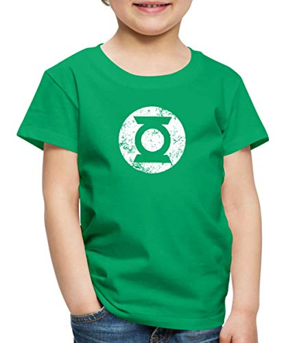 DC Comics Justice League Logo Green Lantern Kinder Premium T-Shirt, 110/116 (4 Jahre), Kelly (Green Lantern Superhelden Kostüm)