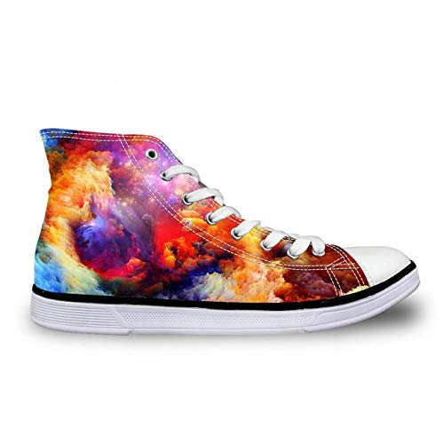Galaxy High Top Canvas Shoes Women Fashion Flat Comfort Shoes Lace-up Sneakers 4 Multi Color US 9 Carlyle China