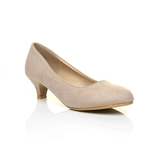 CHARM Nude Faux Suede Low Heel Round Toe Comfort Court Shoes Size UK 6 EU 39