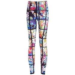 Mieuid Mujer Leggings para Estampado Cintura Friends Chic De 3D Pantalones Media Estiramiento Delgado Pantalones De Lápiz Elástico De Cintura Pantalones (Color : Colour, Size : L)