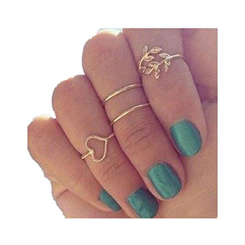 Ringe Für Damen Ring Damen Der Herr Der Ringe DAY.LIN Mode-Gold überzogenes Blatt-Herz-Gelenk-Knöchel-Nagel-Ring-Satz von vier Ringen (Knöchel-schlauch)