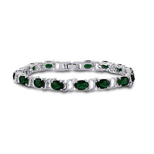 Kezef CZ Bracciale Tennis-7x 5ovale e Zirconia cubica, colore: argento su ottone-7inch, argento-placcato-base, colore: Simulated Green Emerald, cod. BTN0750-7SEM-BRS
