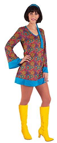 Karneval-Klamotten Hippie Kostüm-e Damen 70er Jahre Kostüme 60er Jahre Kostüm Damen-Kostüm mit Stirnband Mehrfarbig Flower-Power Haarband blau Größe ()