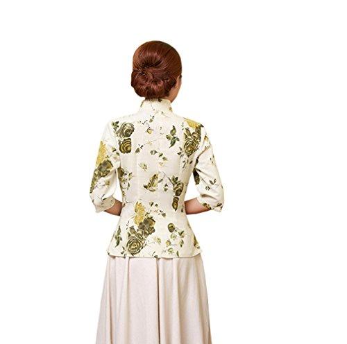 ACVIP Rétro Veste de Tang Chemise Imprimé Fleur Blouse Style Chinoise pour Femme, Plusieurs Couleurs G