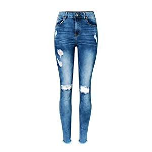iRachel Damen Jeans Hose Skinny Röhrenjeans Bleistifthose Hose Denim Dünn Rise Ripped Loch Bleistift Hose
