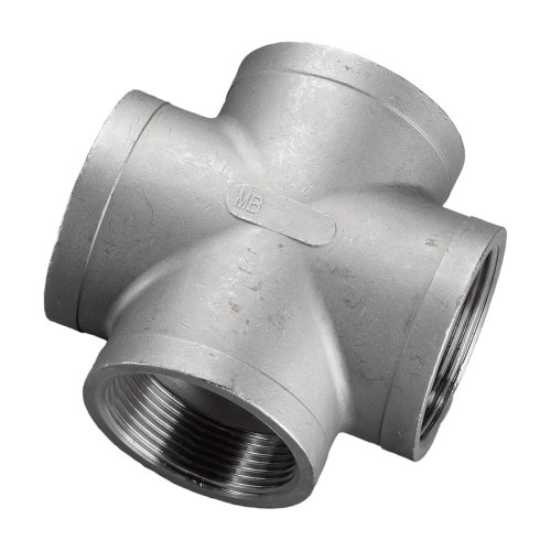 Stainless Steel 304 Cast Pipe Fitting, Cross, Class 150, 1/8 NPT Female by Merit Brass -
