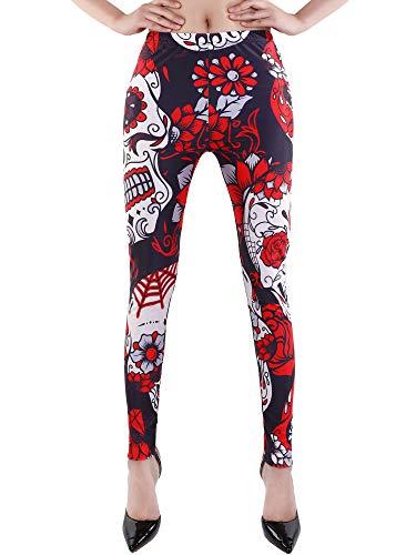 Gejoy Damen Hohe Taille Leggings Halloween Hosen Stretchy Strumpfhosen für Party Kostüm oder Yoga Running (Rot Blumen Schädel, XL)