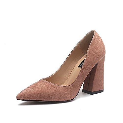 Dimaol Chaussures Femme Flocage Printemps Automne Pompe Talons De Base Chunky Talon Pointu Toe Pour Bureau Occasionnel Et Carrière Noir Rose Rose