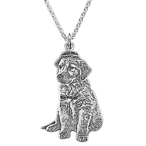 WLDOCA Personalisierte Haustier Hund Katze Foto Tag Anhänger, gravierte Hundeliebhaber Speicher Medaillon Halskette für Männer/Frauen/Mädchen/Jungen/Freunde