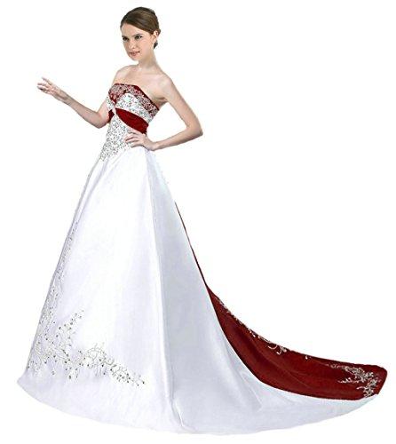 Vantexi Damen Trägerloses Wulstige Stickerei Hochzeitskleid Brautkleider Weiß Burgund 36