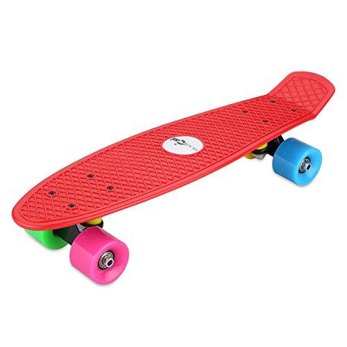 Blascool Small Fish-Style Skateboard a Quattro Ruote Colorate Completa Listello Plastica, 21.65 pollici Alto Impatto (60 Mm Skateboard Ruote)