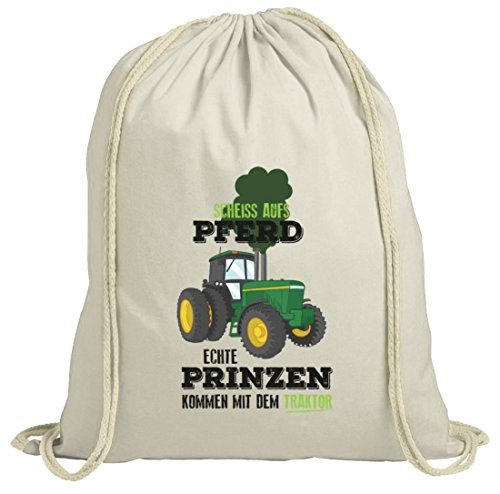 Landwirt natur Turnbeutel mit Echte Prinzen kommen mit dem Traktor Motiv von ShirtStreet Natur