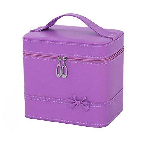 2017 Classic Maquillage Case Cosmétiques Femmes Boîte de rangement Cosmetic Case, Purple