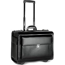 Porte-Documents à roulettes - Taille Cabine - Professionnel/Emplacement pour Ordinateur Portable - Cuir
