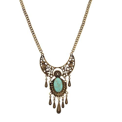 Lux accessori Elegante pietra turchese Dichiarazione Collana
