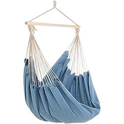 Detex - Fauteuil Suspendu - Siège hamac - Chaise Suspendue 185 x 130 x 155 cm - Bleu • Design • Hydrofuge • Robuste • Barre transversale Bois Massif • Intérieur/Extérieur