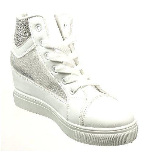 Angkorly - Scarpe Moda Sneaker Zeppa donna strass fishnet Tacco zeppa 6.5 CM Khaki