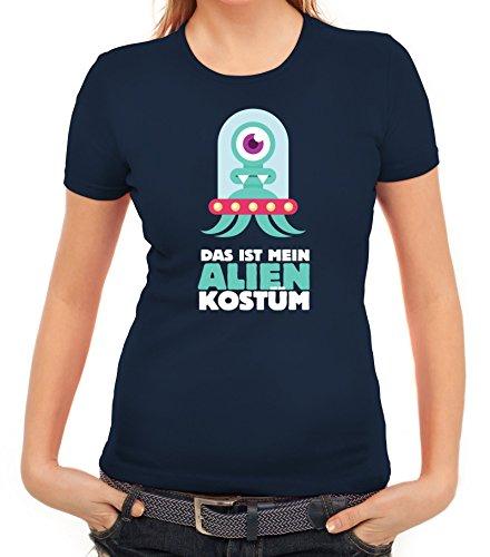 Fasching Karneval Damen T-Shirt mit Das ist mein Alien Kostüm 1 Motiv von ShirtStreet, Größe: (Kostüme Halloween Cool Science)