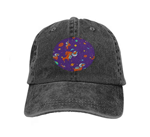Xunulyn Men Women Classic Denim Adjustable Baseball Cap Dog Astronaut Space Pattern pet Spaceman Puppy Cosmonaut cos Black Angel Classic Denim