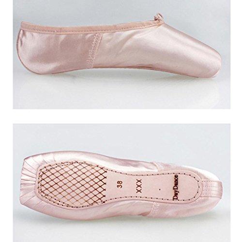 Byjia Ballett Pointe Schuhe Für Mädchen / Frauen In Rosa Mit Freien Zehenballen Und Bänder Grund Satin Riemchen Klassisches Yoga Pink