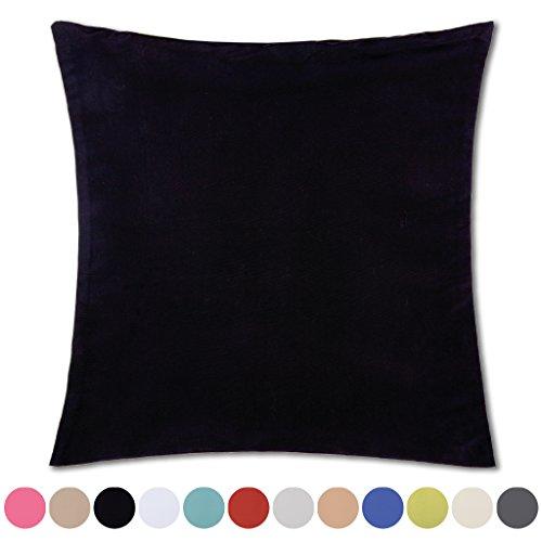 Kissenhülle Microsatin in Trendfarben Satinoptik mit Reißverschluß Auswahl: schwarz - jet black ca. 60cm x 60cm (Reißverschluss Kissenbezug Satin)