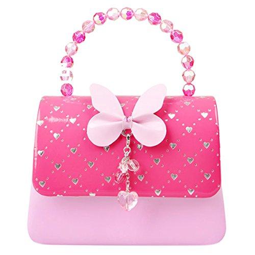 Happy Cherry Klein Mädchen Tasche Prinzessin Tasche Kinder Umhängetasche PU Leder Handtasche Herz Muster Druck Handtasche mit Schmetterling Große Größe 19.5 x 7.5 x 14.5CM - Rose