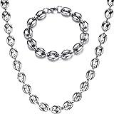 J.Me.Mi Collier Chaine Lourd Grain de Café Or, Homme Acier Inoxydable Pendentif Bracelet Ensemble Bijoux Cadeaux, Chaîne 60cm,SilverSet