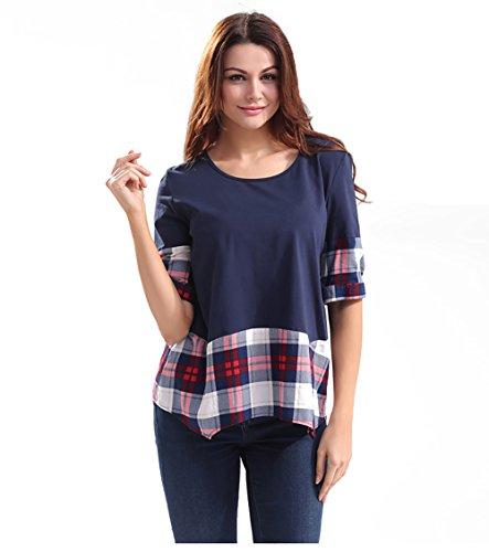 Ärmel Eleganz Show Shirt (Good dress Frauen lose Rundhals T-Shirt Ärmel,blau,S)