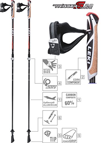 LEKI Instructor Lite Nordic Walking Stock, Black/Light Anthracite/Dark Antracite/White/Neon Red, One Size