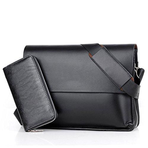 Polyester Unisex Förderung erweiterte Leder Herren 2 Bag Schulter Messenger Bags Business Handtasche Laptop männlichen Aktenkoffer (Laptop-messenger Bag Kipling)