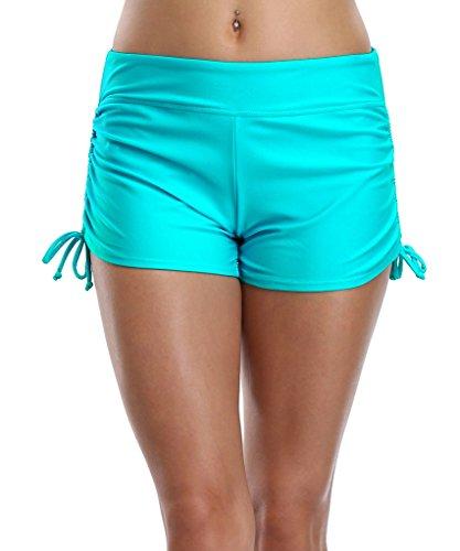 CharmLeaks Damen Wassersport Badeshorts Mit Verstellbare Kordel Badehose Mehrfarbig Türkis