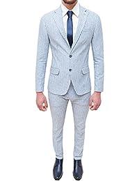 Abito completo uomo sartoriale in lino azzurro bianco slim fit elegante  estivo 6e3b11f5389