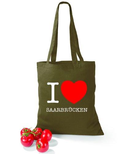 Artdiktat Baumwolltasche I love Saarbrücken Olive Green