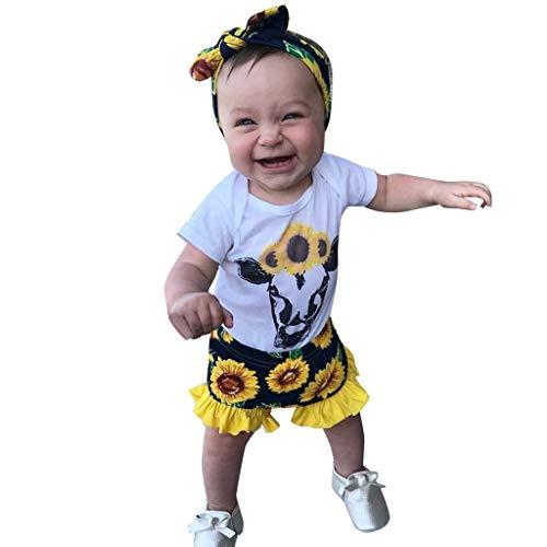Elsta Kleidung Sets Baby Schlafstrampler Bekleidungssets Kleinkind Baby Kinder Sonnenblume Tops Dot Kurze Hosen Casual Outfits Festliche Taufe Kurzarm Kleikind Sommer