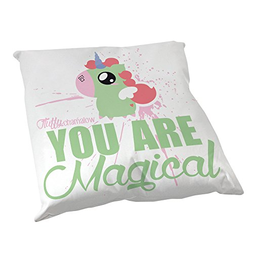 Coussin Décoration Fluffy chamalow : Licorne Chibi , Kawaii vert pastel