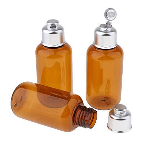 B Blesiya 3pcs Braun Flasche Behälter Container mit Quetschen Design für Parfüm Ätherischen Öl Shampoo Körperwaschmittel und andere Kosmetik - 100 ml